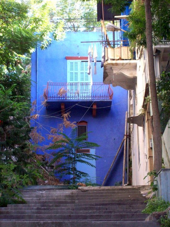 blue house in Gemayzeh street